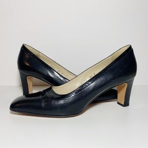 Joel Parker Black Leather Pointed Square Toe Pumps